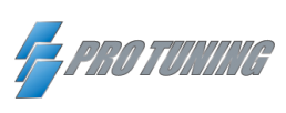 Pro Tuning logo, it has three blue rectangles that is on top of each other.